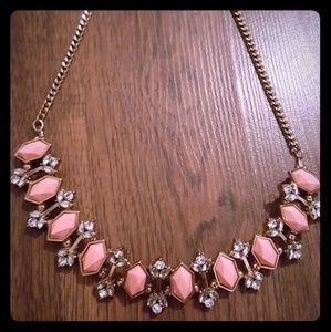 Coral jeweled statment necklace